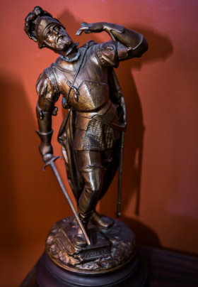 bronze statue of knight